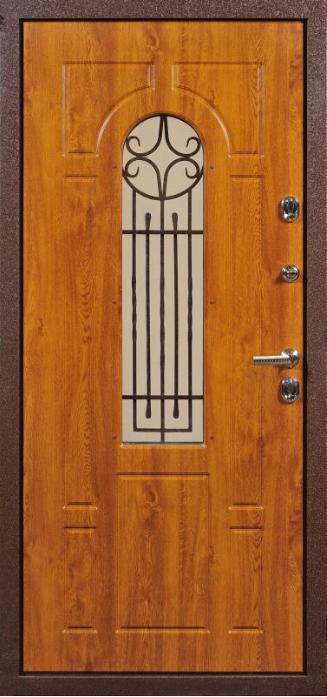 входная дверь для коттеджа со стеклом и решеткой